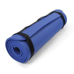 Pilates mat van 10 mm dik in de kleur blauw voor grip en demping