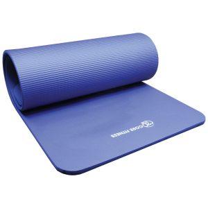 pilates mat in de kleur blauw met een dikte van 15 mm