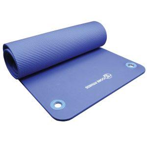 core fitness mat 10 mm dik met oogjes blauw