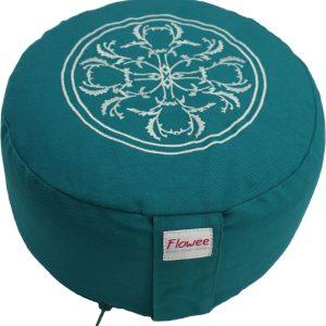 Rond meditatiekussen van Flowee in de kleur turquoise