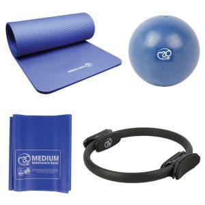 Pilates sportset deluxe met mat, weerstandsband, soft bal en ring