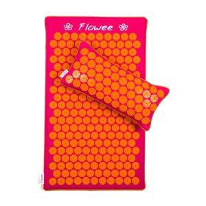 Flowee spijkermatset mat + kussen in de kleuren oranje en roze