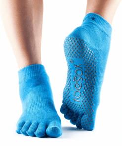 5 tenen sokken met antislip blauw  van het merk ToeSox in de maat S, M en L