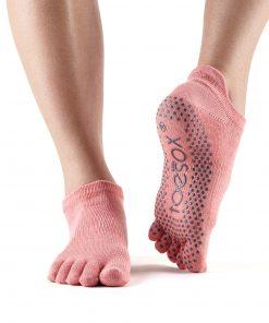 antislip sokken low rise met tenen in Melon kopen bij yoga-pilatesshop in utrecht