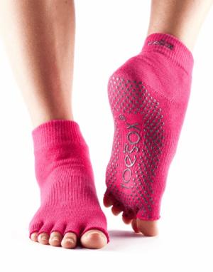 Antislip sokken piloxing met halve tenen fuchsia in de maat s en m