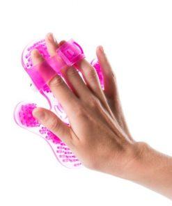 flowee massage handschoen voor ontspanning en mindfullnes in de kleur roze