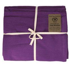 Handgeweven katoenen deken paars verkrijgbaar bij Yoga-pilatesshop.nl