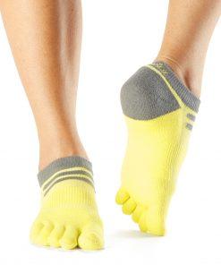 sportsokken met gescheiden tenen in geel en grijs kopen bij yoga-pilatesshop.nl
