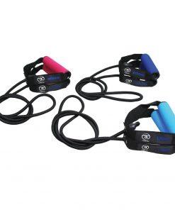 weerstandsband in drie verschillende niveau's verkrijgbaar bij yoga-pilatesshop; light, medium en strong