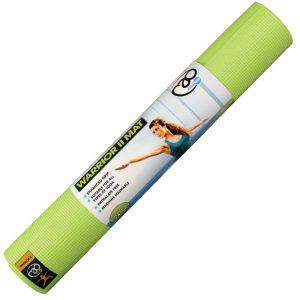 yoga mat in lime groen die 183 cm lang is en een dikte heeft van 4 mm