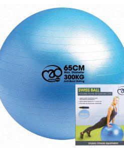 zitbal 65 cm met pomp en dvd voor pilates oefeningen online kopen bij yoga-pilatesshop